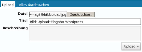 Bild-Upload-Eingabe WordPress