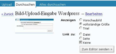 Bild-Upload-Eingabe WordPress - bearbeiten