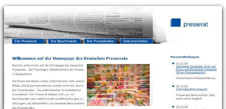 Homepage des deutschen Presserats