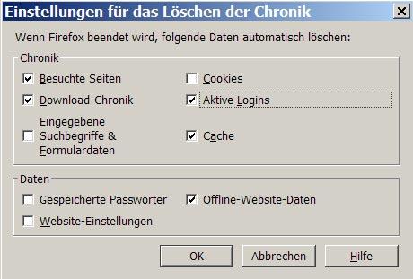 Chronik löschen - im Detail