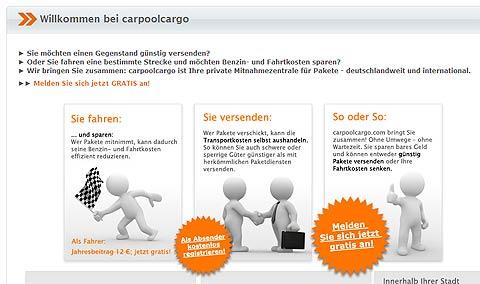 Website der Mitnamezentrale carpoolcargo