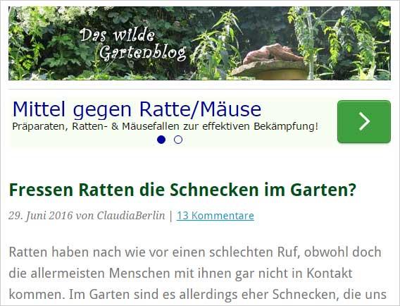 Anzeige im Gartenblog